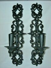 Vintage Mid Evil Gothic Black Burwood Set of Wall Candle Sconces #4455 Scroll