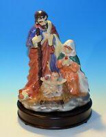 Vintage Mary, Joseph & Baby Jesus Ceramic / Wood Base Nativity Music Box