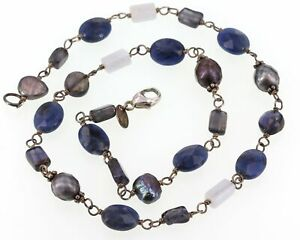 Retired Silpada Necklace N1308 Sterling Iolite Sodalite Blue Lace Agate & Pearls