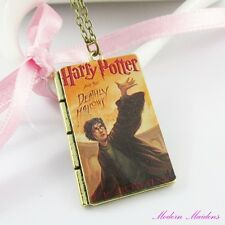 Harry Potter Deathly Hallows Book Cover Charm Pendant Necklace 62cm