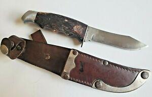 """VINTAGE SCHRADE WALDEN 147 4"""" HUNTING KNIFE STAG HORN HANDLE & LOCKING SHEATH"""