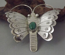 Large Vtg Navajo Malachite BUTTERFLY Stamped Sterling Silver Pin / Brooch SIGNED