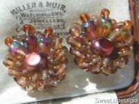 VINTAGE 50'S BRONZE GLASS & FAUX PEARL CLUSTER BEAD CLIP EARRINGS - W GERMANY