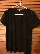 Woman's black H&M chiffon & net T shirt Top Size M multi fabrics