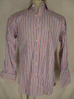 Hilditch & Key Mens Pink Blue Stripe French Cuff Dress Shirt 39R 15.5-32/33
