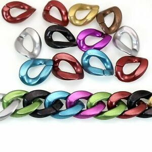 100 Metallic Color Acrylic Flat Twist Oval Linking Ring Open Chain Beads 23X17mm