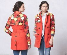Anthropologie Red Floral Trench Coat