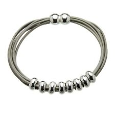 Magnetic Bracelet with grey leather strands and sliding silver beads - Rhoda S