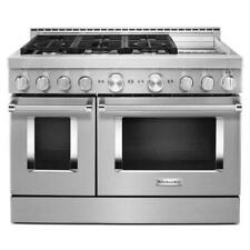 """KitchenAid 48"""" Stainless Steel Smart Dual Fuel Range with Griddle Kfdc558Jss"""