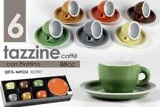 SET 6 TAZZINE CAFFE' ASSORTITE CON PIATTINO  88ML COLORI ASSORTITI QEX-669224