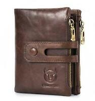 Men's Wallet Genuine Leather 14 Card Slots Card Holder RFID Blocking Zip Pocket