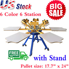 USA! 6 Color 6 Station Screen Printing Machine Press T-shirt Printer Carouse