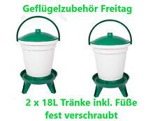 2 x 18 Liter Geflügeltränke in Grün auf Füße Kostenloser Versand