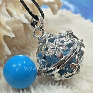 Angel Caller  Harmony Chime Ball & Aromatherapy Diffuser Necklace Lava Blue