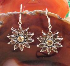Pendiente Flores Estrella Cuarzo Ahumado Marrón Citrino Amarillo