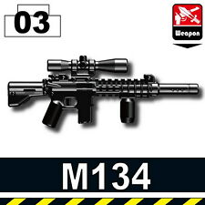 M134 (W124)  sniper rifle w/ tactical grip compatible with toy brick minifigures