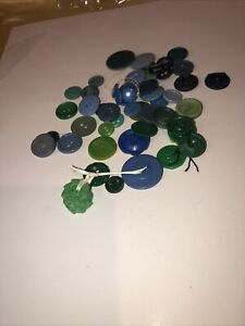 Blue & Green Vintage Plastic Button Lot Estate Sale Treasures