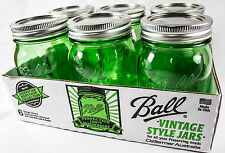 6 x Quart GREEN Wide Mouth Ball Mason Jars and Lid BPA Free.