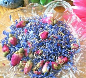 New Natural Dried Tiny Petite Miniature Rosebuds & Blue Cornflower Potpourri Mix