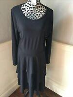 LuLaRoe Size 2XL Georgia Dress Solid Black Tiered Ruffled Long Sleeves
