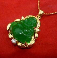 amulette , jade vert, forme bouddha, pendentif