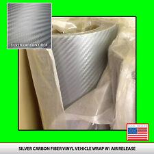 """Silver CARBON FIBER VINYL 12"""" x 50"""" Roll  Wrap Sheet USA seller 3D Twill-Weave"""