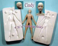 """TEACUP FAIRY CINDY ONLY 4 3/4"""" polymer doll press mold by Patricia Rose"""