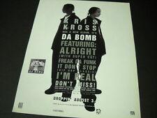 Kris Kross has a new album it's Da Bomb 1993 Promo Display Ad mint condition