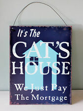 Sign metal wall hanging funny cat kitchen shabby chic vintage
