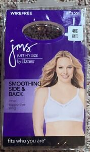 JMS Smoothing Bra Side & Back Wirefree Women's Just My Size Bra MJ1259 48C NWT