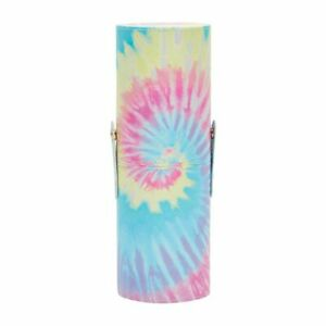 Tie-Dye Makeup Brush Holder Cup with Lid, Cosmetic Travel Bag (3 x 9 In)