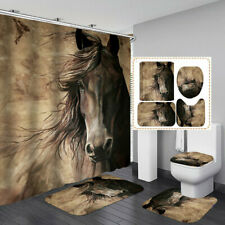 Vintage Horse Bath Mat Toilet Lid Cover Rugs Shower Curtain Bathroom Decor Art
