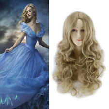 Blonde Long Curly Wavy Hair Wig Princess Cosplay Central Parting Synthetic Wigs