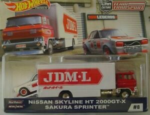 HOTWHEELS TEAM TRANSPORTJDM LEGENDS NISSAN SKYLINE HT 2000GT-X SAKURA SPRINTER.`