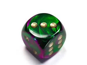 Jumbo 30mm D6 Gemini Green Purple Gold Dice Extra Large RPG Tabletop Roleplay