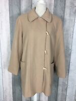 Jacques Vert Beige Coat Wool Cashmere Mix Winter Toggle Duffle Coat Size UK 16