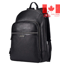 Classic School Laptop Backpack Genuine Leather Book Bag College Travel Hiking...