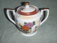 Hakusan China Sugar Bowl Red With Gold Ornate Floral Pattern Japan Rare