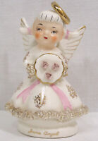 Vintage Lefton Porcelain June Angel Figurine Pink Roses Spaghetti Trim 50s Japan