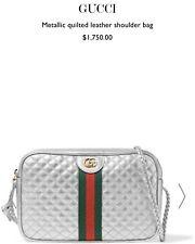 Gucci Trapuntata Silver Metallic Leather Crossbody Bag NWT $1750