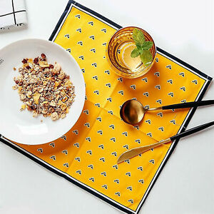 TABLE PLACEMAT FOOD COASTERS COTTON-FLAX RECTANGLE BOWL MAT HEAT INSULATION