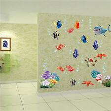 Cartoon Sea Fish Vinyl Removable Mural Wall Sticker Kids Room Bathroom Decor HC