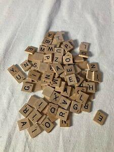 1989 Wood Scrabble Tiles Engraved Black Letters Lot of 103