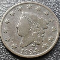 1824 Large Cent Coronet Head One Cent 1c Better Grade #28991