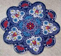 "White & Blue 7"" (18cm) Turkish Iznik Floral Pattern Ceramic Hot Plate Trivet"