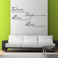 DANCE SING LIVE LOVE Room Wall Art Sticker Quote Decal Mural Stencil WSD717