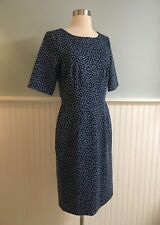 Size 10T 10 Tall Lands End Women's 1/2 Sleeve Stretch Blue Polka Dot Midi Dress