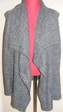 New DKNY fisherman knit dark gray sleeveless SWEATER shrug L soft wool blend