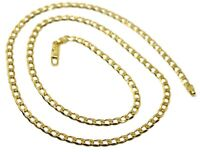 """SOLID 18K GOLD GOURMETTE CUBAN CURB LINKS CHAIN 4mm, 24"""", STRONG BRIGHT NECKLACE"""