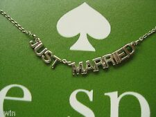kate spade NEWLY WED NECKLACE gift for bride engagement silver tone new designer